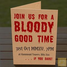 Personalised Halloween Party Invites – Bloody Good Time – Brown or White – Ad... in Home, Furniture & DIY, Celebrations & Occasions, Cards & Stationery   eBay