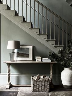 Sage Inexperienced Staircase + sage partitions + inexperienced + inexperienced / grey wall coloration + entryway c… - Hallway Ideas Console Table Styling, Entryway Console Table, Entryway Stairs, Hallway Storage, Hallway Furniture, Hallway Decorating, Interior Decorating, Neptune Home, Grey Hallway