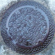 Floral Pattern on Japanese Manhole Cover-Photo by Toby Oxborrow