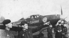 "Pilots 21 th Guards Fighter Aviation Regiment at the airport in Krasnoyarsk fighter P-39 ""Cobra"""