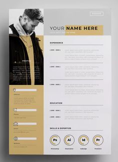 Lebenslauf Design-Vorlagen AI EPS - My best design list Cv Design Template, Resume Design Template, Resume Templates, Graphic Design Templates, Resume Layout, Resume Cv, Portfolio Resume, Portfolio Design, Portfolio Ideas