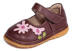 Squeaky Shoes | Brown w/ Pink Flower Toddler Girl Mary Jane