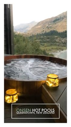 Onsen Hot Pools in Queenstown, New Zealand are one of the most romantic experiences in the world. Find out how to get a booking, experience the Onsen Hot Springs and more with this perfect 16 day travel itinerary and guide across New Zealand. Hot Springs Arkansas, Swimming Pool Designs, Swimming Pools, Tokyo Winter, New Zealand Winter, Queenstown New Zealand, Lake Wakatipu, New Zealand South Island, Travel Aesthetic