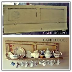Capitulo Dos: De la ventana a la cocina.... Farmhouse Style Kitchen, Rustic Farmhouse Decor, Upcycled Vintage, Vintage Decor, Coffee Mug Display, Recycled House, House By The Sea, Living Room Windows, Repurposed Furniture