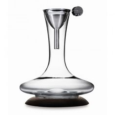legnoart  crook decanter with filter funnel and wooden base