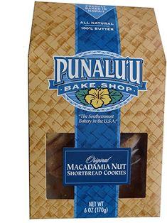 Punalu'u Bake Shop's Original Macadamia Nut Shortbread Cookies, All Natural, Butter, Freshly Baked in Hawaii, 6 Ounce Package Hawaiian Cookies, Shortbread Cookies, Print Packaging, Freshly Baked, Gourmet Recipes, Bakery, Butter, The Originals, Natural