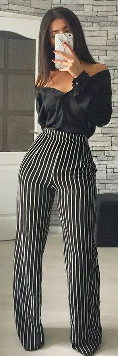 #summer #outfits Black Off The Shoulder Blouse + Black Striped Pants