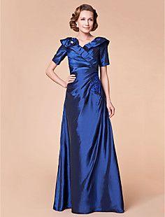 A-line V-neck Floor-length Taffeta Mother of the Bride Dress – USD $ 98.99