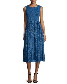 TBUYY Rebecca Taylor Sleeveless Mirage Ruched Midi Dress, Blue