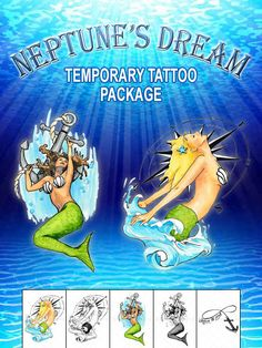 Neptune's Dream Temporary Tattoo Set