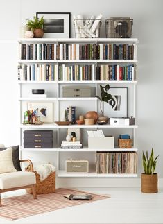 Available exclusively at The Container Store, shop our bestselling Elfa shelving solutions. Shop the site, design online, or meet with a design expert in-store today! Bookshelves In Living Room, Cool Bookshelves, Decorating Bookshelves, My Living Room, Living Room Decor, Bookshelf Ideas, Arranging Bookshelves, Bedroom Bookshelf, Minimalist Bookshelves
