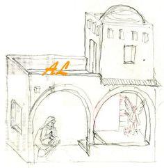 Otra Anunciación a María en perspectiva. City Illustration, Cardboard Crafts, Mixed Media Canvas, Diorama, Nativity, Art For Kids, Art Projects, Recycling, Christmas Decorations