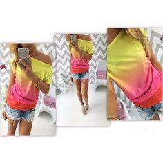 Courtney - Ombre T Shirt - Tie Dye T Shirt - Open Shoulder T Shirt - Hippie Apparel - Women's Tops - Select Colors - Sizes S-XL - 100238