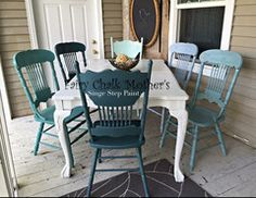 Shades of teal dining set, painted in Fairy Chalk Mother's single step paint. Painted Oak Table, Painted Farmhouse Table, Painted Dining Chairs, Painted Kitchen Tables, Mismatched Dining Chairs, Farmhouse Kitchen Tables, Diy Dining Table, Kitchen Chairs, Dining Set