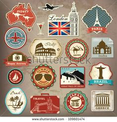 Collection of vintage retro grunge vacation & travel labels, labels, badges and icons - stock vector