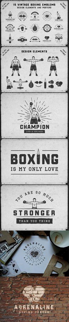 15 Vintage Boxing Emblems Template PSD, Vector EPS, AI Illustrator