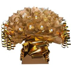 all gold #ferrero #candy #bouquet gift idea