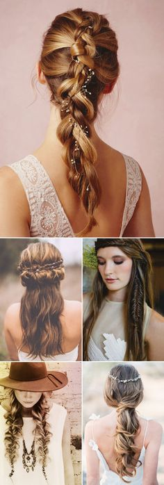 "Talking about ""effortless beauty"", boho hairstyle is always one of the very first things that comes to mind. Bohemian bridal hair is bang on trend, and we can totally see why. Wearing your hair loose and shaggy creates this ""natural yet romantic"" look that is just so feminine and charming! From side swift braids, updos, …"