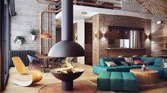 cheminée centrale sphérique et mobilier design dans le salon style industriel