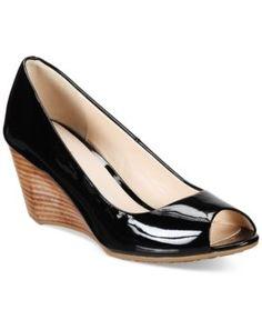 607e6e99679 Cole Haan Sadie Open-Toe Wedge Pumps - Black 10.5M Peep Toe Wedges