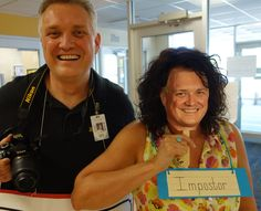 IMPOSTOR is this school secretary's word as she poses with her PRINCIPAL's face mask for the Vocabulary Parade! This school has nearly student AND parent participation in their annual Parade. Vocabulary Instruction, Vocabulary Words, School Fun, School Days, Vocabulary Parade, School Secretary, School Costume, Halloween Costumes, Student
