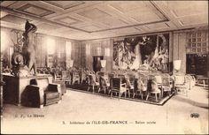 Salon de conversation et de thé / Conversation and tea lounge on the Ile-de-France by Louis Süe et André Mare, 1927.
