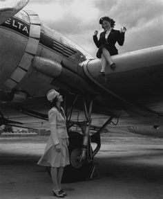 Photograph by Delta Airlines of two women and a DC-3 airliner. Somehow it seems to beg for a caption.