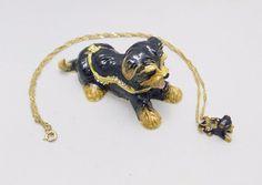 New Trinket Box Gift Painted Swarovski Crystals Yorkie Dog Animal Necklace