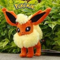 "Flareon 8"" Nintendo Pokemon Plush Toy Collectible Stuffed Animal Doll Rare - Pokemon Pet Tags"