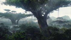 Компьютерная Графика пейзаж  Компьютерная Графика Цифровое искусство Лес Джунгли туман Обои
