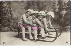 Colorized Children on Sled