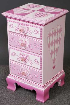 Pink 3 drawer Nightstand