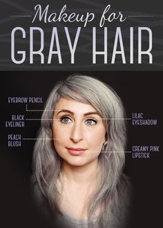 We consulted makeup artist Yana Markevich about which colors work best with gray hair. Eyebrow Pencil: Use a light, cool-toned eyebrow pencil to create a fulle Grey Hair Eyebrows, Grey Hair And Makeup, Grey Hair Dye, How To Color Eyebrows, Dyed Hair, Hair Makeup, Silver Hair Dye, Grey Hair Brown Skin, Grey Hair At 40
