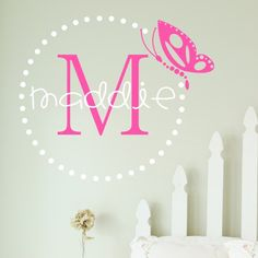 Butterfly Dots Wall Monogram Decal.  The finishing touch for any little girls room!  Choose the size and colors!