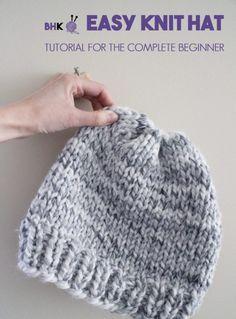 Easy Knit Hat By Brittany - Free Knitting Pattern - * einfache strickmütze von brittany - free knitting pattern - * bonnet easy knit by brittany - patron tricot gratuit - Baby Hats Knitting, Loom Knitting, Free Knitting, Knitted Hats, Kids Knitting, Beginner Knitting Patterns, Easy Knitting Projects, Knitting For Beginners, Diy Easy Knitting