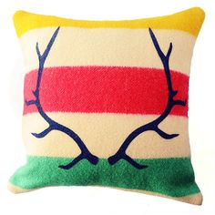 Silkscreened HBC blanket pillow, by Identity.  Via Nineteen Ten.
