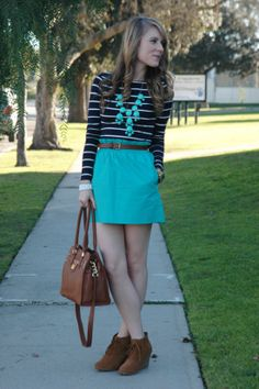 navy striped knit tee, bubble necklace and turquoise skirt - love the strips with the turquoise - all over the place