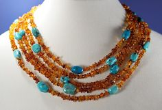 Jay King Mine Finds Amber and Turquoise Bead Five Strand Necklace  #JayKing #StrandString