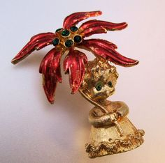 MYLU Christmas Poinsettia Angel Rhinestone by BrightEyesTreasures, $19.99