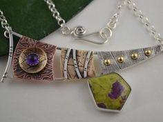 Artisan Metalsmith Necklace - Mixed Metal Necklace - Art Jewelry