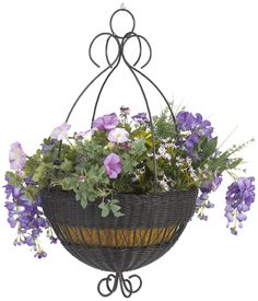 Artificial hanging flower baskets for outdoor and indoor use.