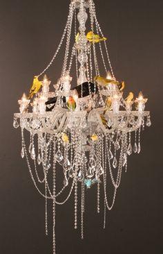 Sebastian Errazuriz : Lampara de Lagrimas at Cristina Grajales Gallery. Crystal, metal and taxidermy birds, 2011.