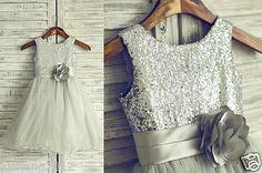 Silver Sequin Gray Tulle Flower Girl Dress Curly Hem by misdress Tulle Flower Girl, Flower Girl Dresses, Dresses For Less, Girls Dresses, Army Fancy Dress, Baptism Dress, Tulle Tutu, Baby Dress, Clothes For Women