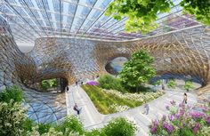 """Vincent Callebaut Proposes """"Wooden Orchids"""" Green Shopping Center for China,Pedestrian path. Image Courtesy of Vincent Callebaut Architectures Architecture Durable, Architecture Design, Green Architecture, Futuristic Architecture, Sustainable Architecture, Sustainable Design, Landscape Architecture, Landscape Design, Ville Durable"""
