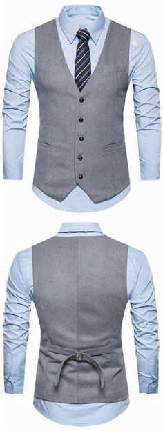 V Neck Button Up Belt Design Waistcoat - Man Fashion Mens Fashion Suits, Mens Suits, Men's Waistcoat, Designer Suits For Men, Stylish Mens Outfits, Casual Outfits, Vest Outfits, Mens Clothing Styles, Men Style Tips
