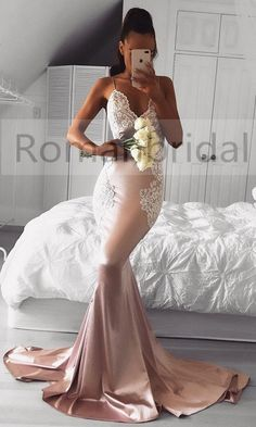2018 Hot selling Sleeveless Mermaid V-neck Cute Spaghetti-Strap Lace Prom Dress, PD0453