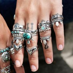 ❧ T H E W E S T IS C A L L I N G ❧ In store now ☞ shopdixi.com ❧ shop dixi // dixi // boho // bohemian // jewelry // jewellery // grunge // goth // hippie // hipster // gothic // badass // bandit // outlaw // silver // sterling silver // stack // turquoise // moonstone // high azurite // west // fierce // rings