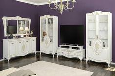 Szín: Fehér, Arany-Antikolt Anyag: MDF, LMDP (laminált) Az összeállításban szerepel: 2 db Tálalószekrény, 1 db Tv asztal, 1 db Komód, 1 db Tükör. www.butornagy.hu Cabinet, Storage, Tv, Furniture, Home Decor, Clothes Stand, Purse Storage, Decoration Home, Room Decor
