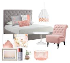 """Bedroom, peach and gray"" by emerson-lea on Polyvore featuring interior, interiors, interior design, home, home decor, interior decorating, Tribecca Home, Saro, Home Decorators Collection and Bend"