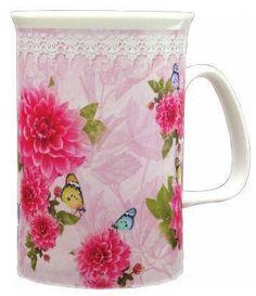 Peonies Bone China Mug - 3 Left! - Roses And Teacups Porcelain Mugs, China Porcelain, Pretty Mugs, China Mugs, China Patterns, Purple Roses, Mugs Set, Vintage Tea, Pansies